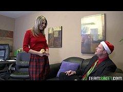 InnocentHigh Christmas teen Nina Lane fucks red...