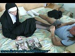 Nun giving a Footjob