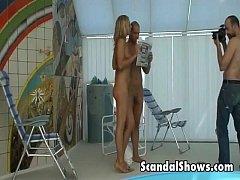 Hot brunette does sexy striptease