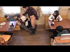 Asian waitress gives felatio to the randy custo...