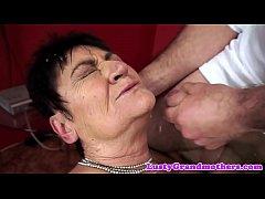 Saggy grandma facialized after sex