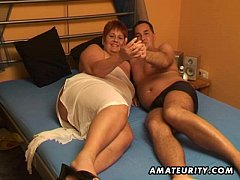 Chubby amateur wife sucks and fucks with cum in...