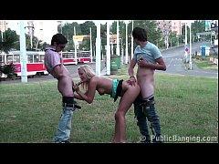 Cute blonde teen girl PUBLIC street gangbang th...
