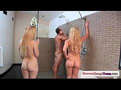 Cumswap threesome fun with stepmom and teen