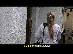 Blonde BBW sucks and rides customer's cock