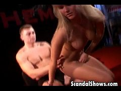 Blonde girl and horny guy in hot action
