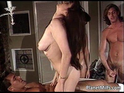 Old hairy slut enjoys in three big cocks