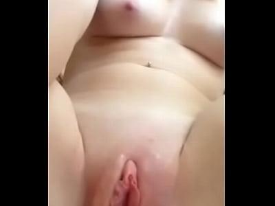 Fingering her shaved wet pussy until she cums 1 min 6 sec