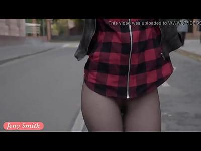 Public Brunette Boots video: Jeny Smith pantyhose fire walking