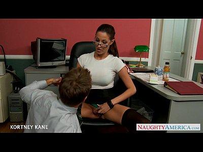 Stockings Blowjob Pornstar video: Office babe in glasses Kortney Kane fucking