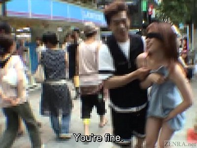 Teen Outdoor Bikini video: Subtitled extreme Japanese public exposure blindfold prank