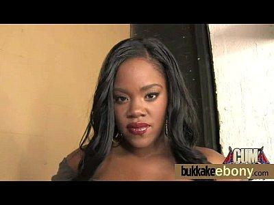 Ebony babe sucks and fucks several white dudes 24