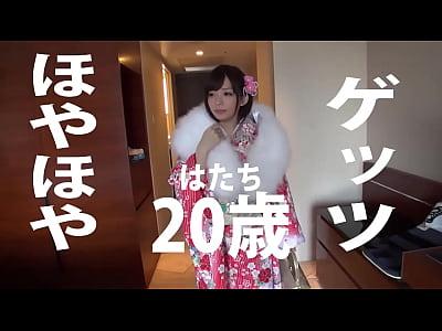 【ナンパ】アダルトタイプナンパw20年のJDがショートボブの振袖格好でDカップ巨乳を揺らしてアウターH方法マンで衣料潮吹き