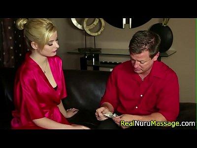 Massage Fetish Blowjob video: Dazzling masseuse bath