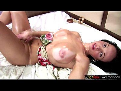Pono Gay Latina t-girl with nice big tits jerks off her massive cock