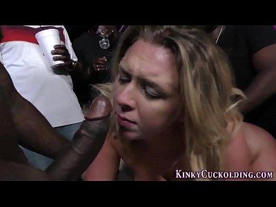 Slut enjoys bbc gangbang
