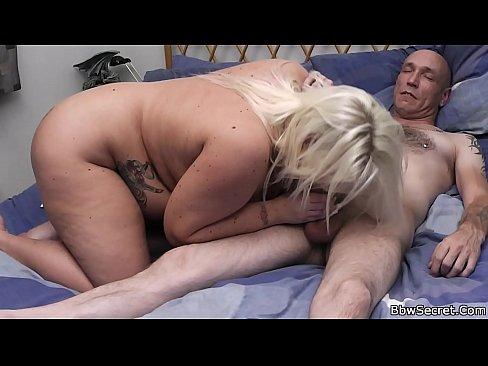 Lovely big boobs blonde helps him cum