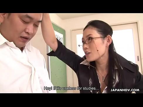 Naughty teacher sucking off her stupid student's hard cock