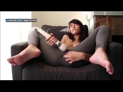 Hot Asian Teen Girl Hitachi Vibrator Pussy Massage in Yoga Pants WatchSexCam.com
