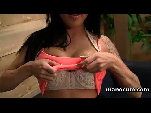 Handjob expert sexy brunette strips and masturbates in POV style