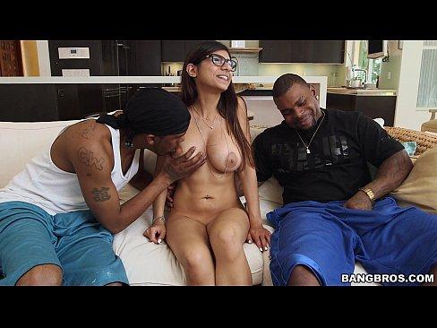 Mia Khalifa meets 2 Big Black Cocks
