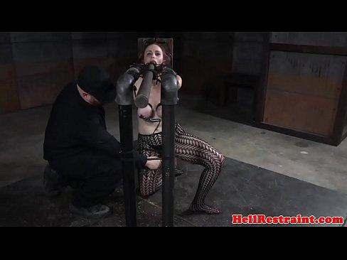 Tiedup submissive flogged after breastbondage