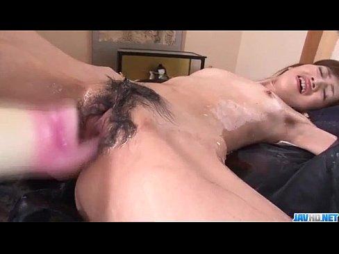 Kanon Hanai enjoys pleasure down her soapy pussy