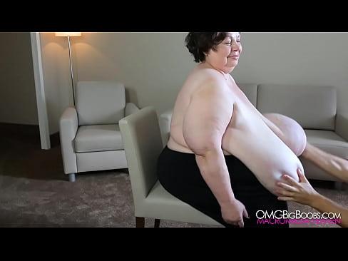 Macromastia breasts grabbed