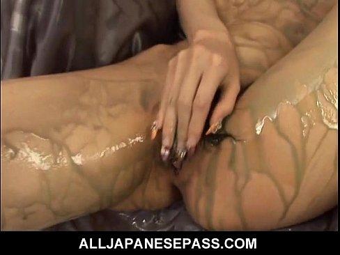 Gorgeous Rika Sakurai with a mouthful of hot cum