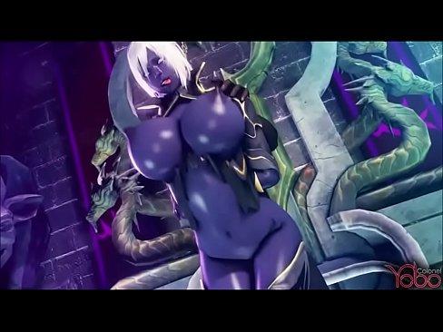Elfa Negra é Fodida Por Vários Monstros Gigantes – Desenho Porno