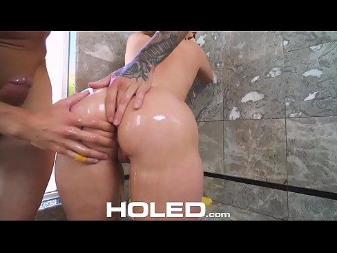 HOLED Big dick shoved up brunette Harley Jade tight asshole