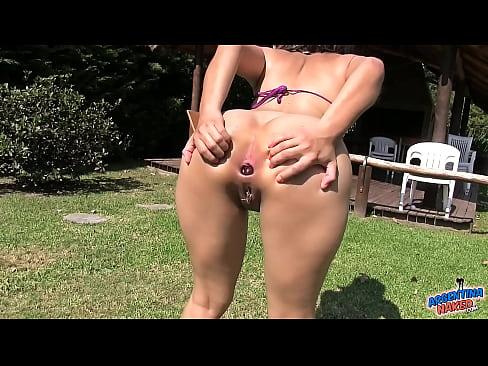 16 Inches Dildo Full Inside Asshole and Rosebutt Push Latina.