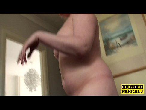 Pissing uk slut squats and wets the floor