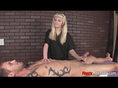 Crystal massages cock till cums