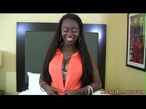 Ebony teen jugs jizzed