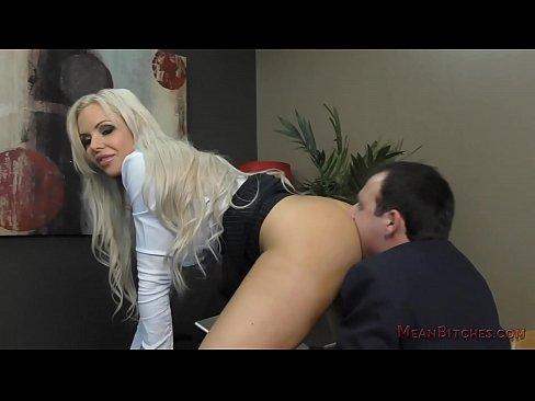 Mean Boss Nina Elle Makes Her Employee Worship Her Ass