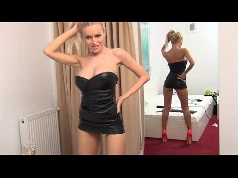BigTits Blonde Leather Dress Dancing #2