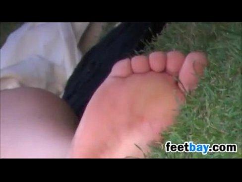European Girls Dirty Feet On The Grass