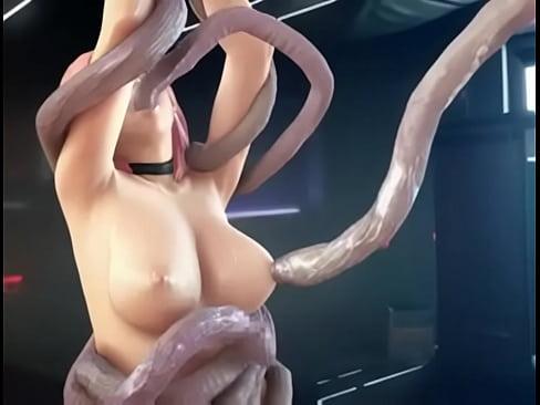 【エロアニメ】美巨乳&パイパンな美人娘が触手生物に絡みつかれて激しくレイプされる!