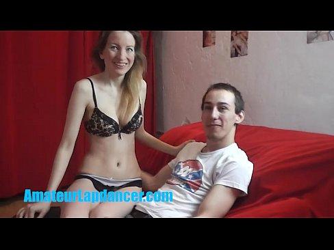 Skinny 18yo chick lapdances for cute stranger
