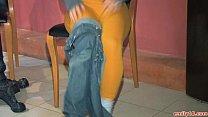 Emily 18 in orange tights