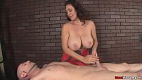 Huge titted massage gets a little rough