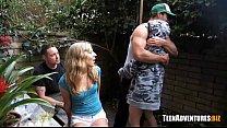 Teen blowjob in backyard