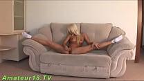 Flexible blonde spreading hard