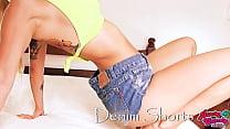 Big Bubble Butt Teen Wearing Tight Denim Shorts...