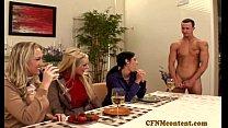 Cfnm Ahryan Astyn and pals share a cock