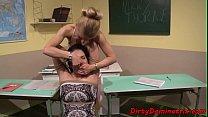 Schoolgirl femdom domination in classroom