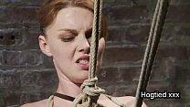 Rope bondage redhead gets punished