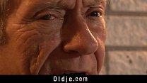 Teeny masseuse gives grandpa the best pussy rub...