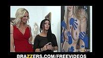 Mature blonde MILF shows off her pierced nipple...